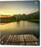 Sunset Above A Lake In High Tatra Mountains In Slovakia Acrylic Print