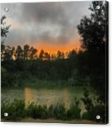 Sunset Above The Forest And Lake Acrylic Print
