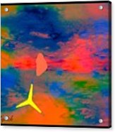 Sunset Abstract With Windmill Acrylic Print