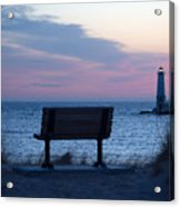 Sunset And Bench Acrylic Print