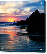 Sunset And Clouds Over Crescent Beach Acrylic Print