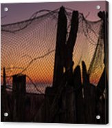 Sunset And Fishing Net Cape May New Jersey Acrylic Print
