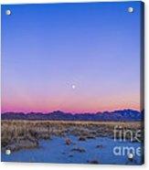 Sunset And Gibbous Moon Acrylic Print