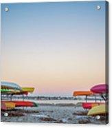 Sunset And Kayaks Acrylic Print