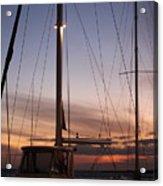 Sunset And Sailboat Acrylic Print