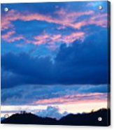 Sunset Art Print Blue Twilight Clouds Pink Glowing Light Over Mountains Acrylic Print