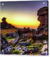 Sunset At Great Staple Tor On Dartmoor Acrylic Print