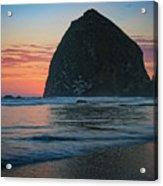 Sunset At Haystack Rock Acrylic Print