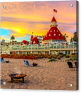 Sunset At Hotel Del Coronado Acrylic Print