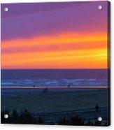 Sunset At Long Beach Washington Acrylic Print