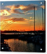 Sunset At Newport Beach Harbor Acrylic Print