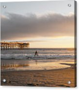 Sunset At Pacific Beach Pier - Crystal Pier - Mission Bay, San Diego, California Acrylic Print