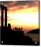 Sunset At Temple Of Poseidon Acrylic Print