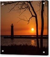 Sunset At The Lighthouse In Muskegon Michigan Acrylic Print