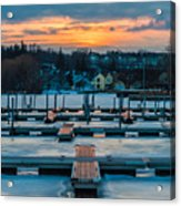 Sunset At The Marina In Winter Acrylic Print