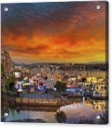Sunset At Victoria Inner Harbor Fisherman's Wharf Acrylic Print