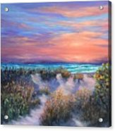 Sunset Beach Painting With Walking Path And Sand Dunesand Blue Waves Acrylic Print