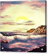 Sunset Beach Pastel Splash - Elegance With Oil Acrylic Print