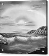 Sunset Beach Pastel Splash In Black And White Acrylic Print
