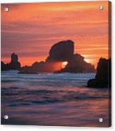 Sunset Behind Arch At Oregon Coast Usa Acrylic Print