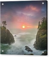 Sunset Between Sea Stacks With Trees Of Oregon Coast Acrylic Print