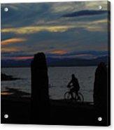 Sunset Bicycle At Earth Clock Burlington Vermont Panorama Acrylic Print