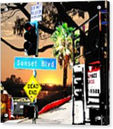 Sunset Blvd Meets Sunset Acrylic Print