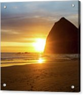 Sunset By Haystack Rock At Cannon Beach Acrylic Print