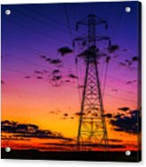 Sunset By The Wires Acrylic Print