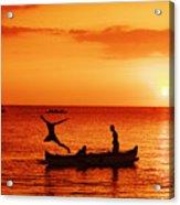 Sunset Canoe Jump Acrylic Print