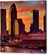 Sunset City Downtown By The River Acrylic Print