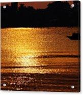 Sunset Country Boat Heading Towards Golden Rays Acrylic Print