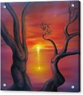 Sunset Dance Fantasy Oil Painting Acrylic Print