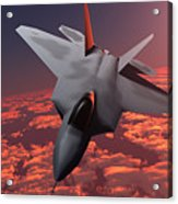 Sunset Fire F22 Fighter Jet Acrylic Print