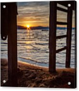 Sunset From Beneath The Pier Acrylic Print