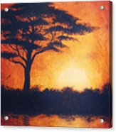Sunset In Africa In Bright Orange Tones With A Tree Silhouette Beautiful Colorful Painting Acrylic Print