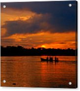Sunset In Amazon River Acrylic Print