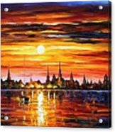 Sunset In Barcelona Acrylic Print