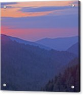 Sunset In Great Smoky Mountain National Park Tennessee Acrylic Print