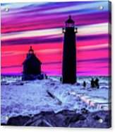 Sunset In Winter At Grand Haven Lighthouse Acrylic Print