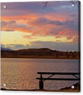 Sunset Lake Picnic Table View  Acrylic Print