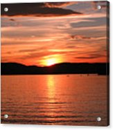 Sunset-lake Waukewan 1 Acrylic Print by Michael Mooney