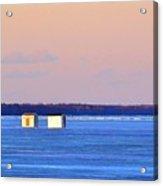 Sunset Light On The Ice Fishing Huts 2  Acrylic Print