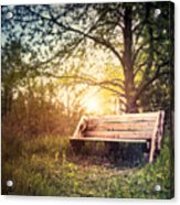 Sunset On A Wooden Bench Acrylic Print