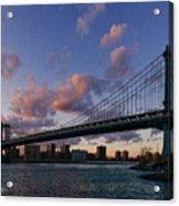 Sunset On Manhattan Bridge Acrylic Print by Dick Wood
