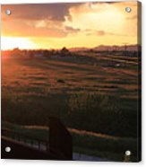 Sunset On The Railroad Track Acrylic Print