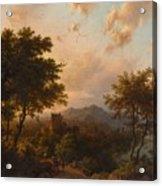 Sunset On The Rhine , Barend Cornelis Koekkoek Acrylic Print