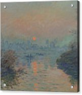 Sunset On The Seine At Lavacourt, Winter Effect Acrylic Print