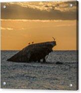 Sunset On The Wreck Of The Concrete Ship Atlantus Acrylic Print