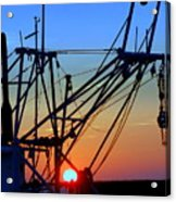 Sunset On Trawler Acrylic Print